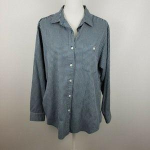 LL Bean16 plaid button up shirt top blouse casual